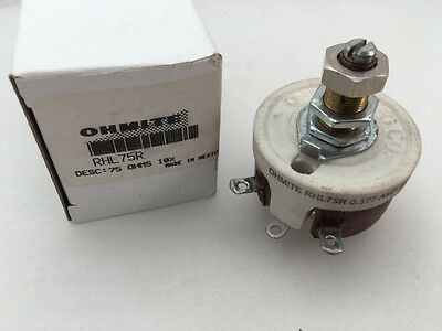 RHL75R Ohmite, 25 Watt 75 Ohm 500V, Locking Shaft, Linear Rheostat