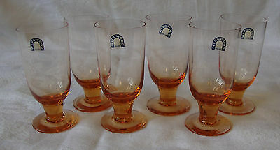 6 x Vintage - Wedgwood - Amber Sherry Glasses - Signed & Original Stickers