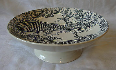 1884 Doulton Burslem - Black & White - Footed Dish / Fruit Bowl (21.5cm)