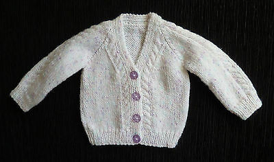Baby clothes GIRL newborn 0-1m white/mauve flecked cardian professionally made!