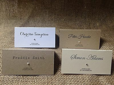 Personalised wedding place cards / name cards white ivory kraft