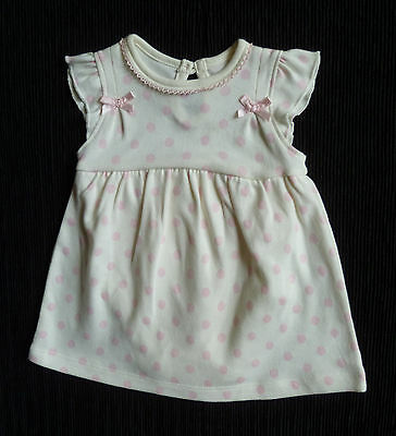 Baby clothes GIRL newborn 0-1m cream/pink softcotton dress/built-in bodysuit NEW