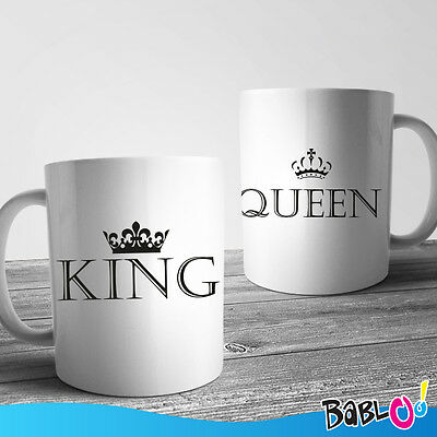 """Coppia di Tazze Love You and Me """"King and Queen"""""""