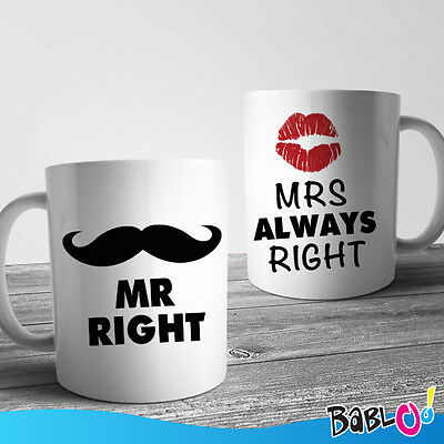 """Coppia Di Tazze Love You And Me """"Mr Right Mrs Always Right"""""""