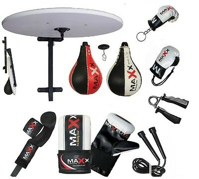 New Adjustable Speedball Platform Frame Set Swivel MMA Speed Ball Boxing Gloves