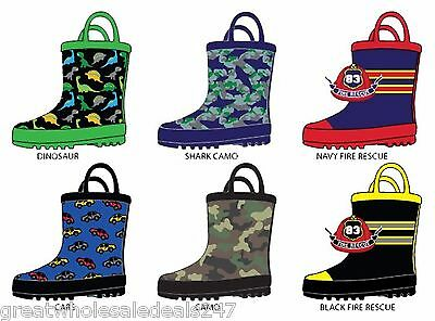 TODDLER BOY'S PRINTED RAINBOOTS (Wholesale Lots of 36 Pairs)