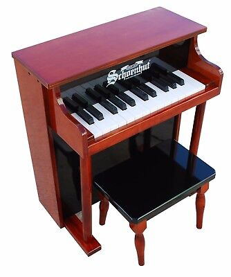 Traditional Spinet Toy Piano 25 Keys Bench Play-by-Color Learning System Ages 3+