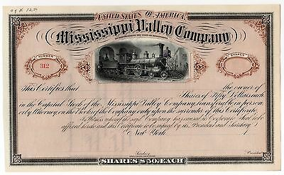 18-- Mississippi Valley Co. Railroad Stock Certificate No. 312