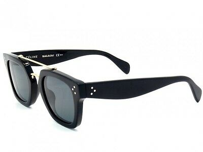 CELINE Sunglasses CL41077/S 807BN Shiny Black/Gold Frame Gray Lens 47mm