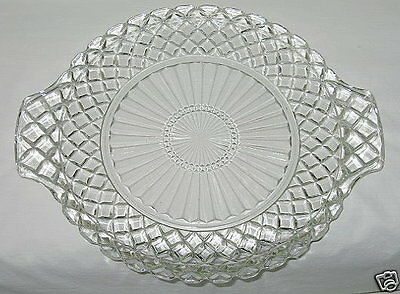 Anchor Hocking Waterford Waffle Pattern Handled Cake Plate