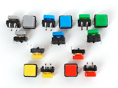 Tactile Colourful Square Button Switch Assortment - Pack of 15 [1010]