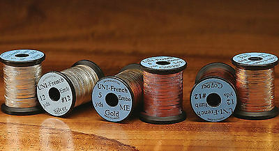 UNI - French EMBOSSED TINSEL - Fly Tying Med Sm Gold/Silver/Copper lot available