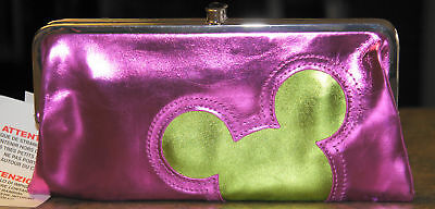 NWT Disney Parks MICKEY MOUSE Icon Pink & Green Clutch