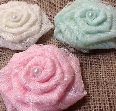CHOOSE COLOR IVORY Lace Pink Mint Tulle Flower Burlap Pearl Wedding ...