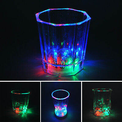 7 Color LED Flash Light Wine Drink Glass Cup Beer Bar Party Wedding Club Home AL