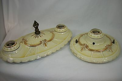 1930's Antique Ceiling Light Fixtures Pair Art Deco Set VTG Porcelier Flush Old