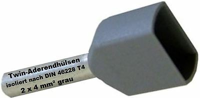 Twin Wire end ferrules 2 x 4 mm² grey Double tinned