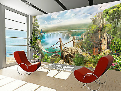 Bridge Over Waterfall Wall Mural Photo Wallpaper GIANT DECOR Paper Poster