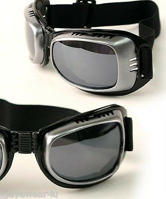 ADULT FOLDING GOGGLES w COMFORTABLE ADJUSTABLE STRAP- CHOOSE BLACK OR SILVER