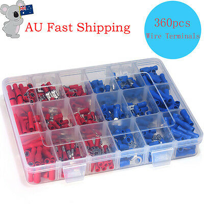 360pcs Insulated Assorted Electrical Wire Terminal Crimp Connector Spade Set AU