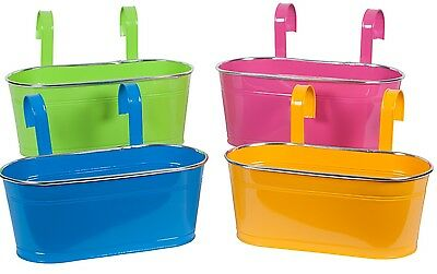 Bright Colours Double Fence Planters Garden Outdoor Metal Pots Hanging Baskets
