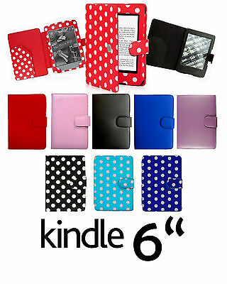"for AMAZON KINDLE TOUCH PAPERWHITE K4 6"" LEATHER CASE COVER  WITH FULL INTERIOR"