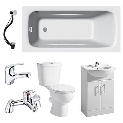 Bathroom Suite 1700mm Bath 550mm Vanity Unit Close Coupled Toilet Taps & Wastes