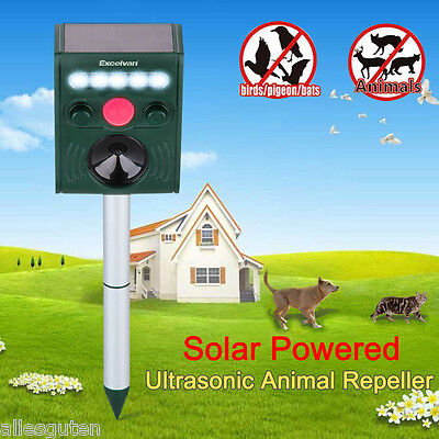 LED Solar Ultrasonic Power Pest PIR Repeller Animal Cat Dog Mouse Fox Repellent