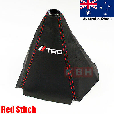 TRD Red Stitch Black PVC Leather Retainer Shifter Shift Gear Knob Boot Cover