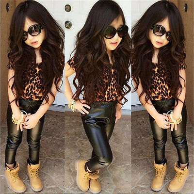 Fashion Girl Kids Princess Leopard Tops T-Shirt+Leather Pants Outfit Clothes Set