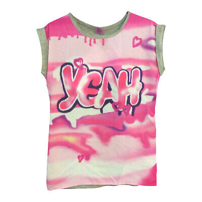 Girls Pink Summer T-Shirts Tops Short Sleeve Graffiti 5 6 7 8 9 10 11 12 Years
