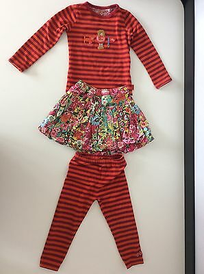 Oilily Girls 3 Piece Outfit, Set, Size Age 3t, 98 Cm, Top Leggings Skirt, Vgc
