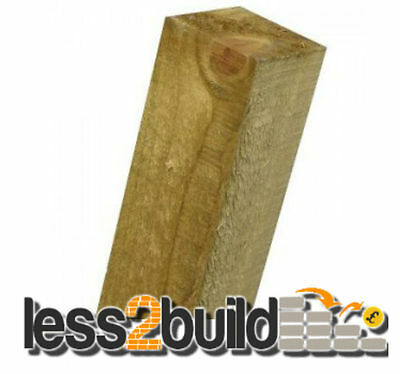 """Treated Timber Wooden Fence Posts 3"""" X 3"""" X 8ft Long"""