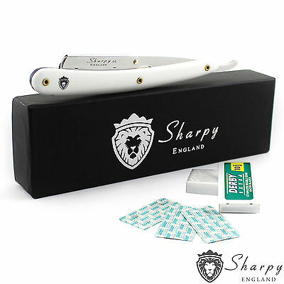 "Straight Cut Throat White Shaving Razor Barber Salon Sharpy ""10 Free Blades"""