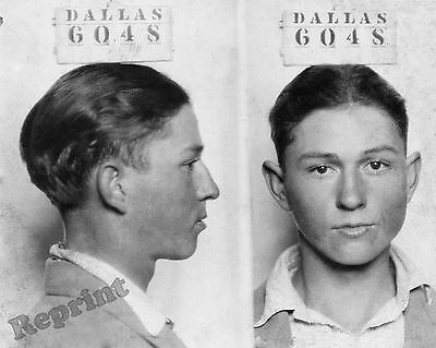 Photograph 1926 Mugshot of Mobster Clyde Chestnut Barrow Age 16  8x10