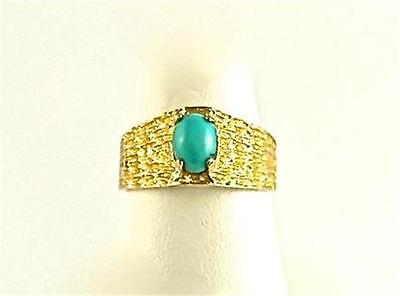 RING Natural Persian Turquoise Hand Crafted 18K Solid Gold Size 6.5 Vintage 1950