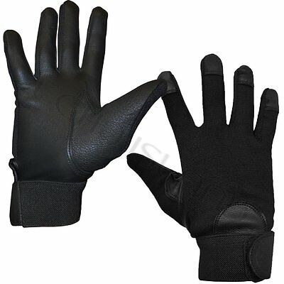 Mens and Womens Fitted Real Leather Gloves with Spandex Touchscreen Driving