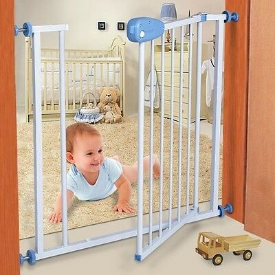 Baby Safety Gate Stair White Solid Metal Barrier Toddler Pressure Fit Safe Child