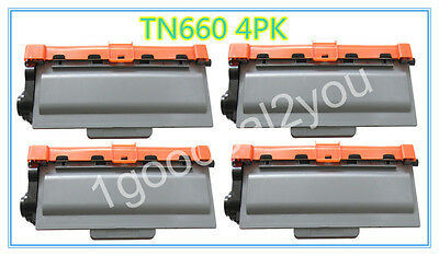 4 PK High-Yield Black Toner Lots For Brother TN660 TN630 DCP-L2540DW