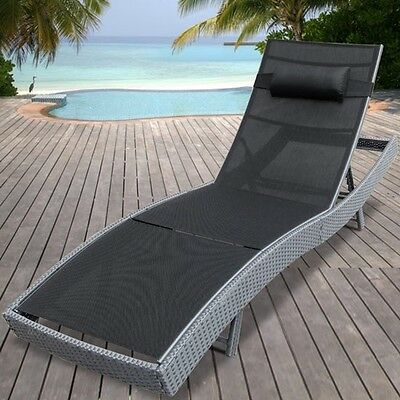 Grey Sun Lounger Poly Rattan Outdoor Garden Patio Adjustable Water Resistant New
