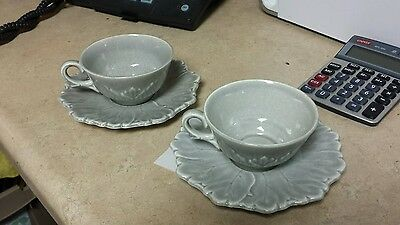 Steubenville Woodfield Pattern Gray Cup And Saucer