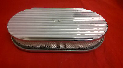 "15"" x 2"" fullFinned Billet Polished Air Cleaner Retro Oval Street Rod Breather"
