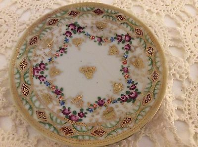 Vintage Hand Painted Gold Filigree Decorated Dish