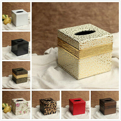 Colored Square PU Leather Tissue Box Cover Napkin Holder Home Decor 12*12*12CM