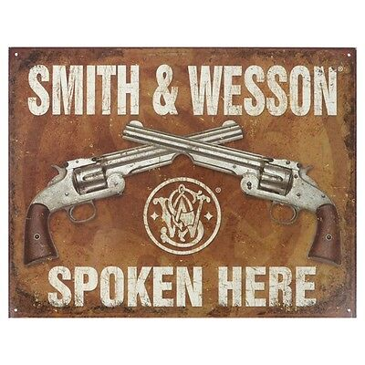 Vintage Art 'Smith & Wesson Spoken Here' Decorative Tin Sign American Nostalgia!