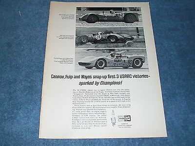 1966 Champion Spark Plugs Vintage Ad with Lola McLaren Genie-Olds Nickey Traco