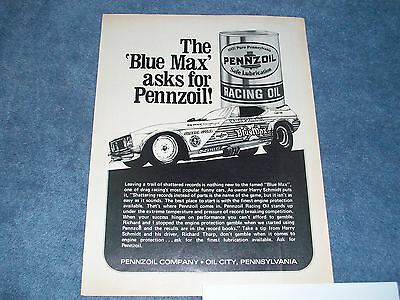 1973 Pennzoil Racing Oil Vintage Ad with Blue Max Mustang Funny Car