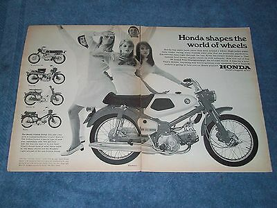 "1967 Honda Motorcycle Vintage 2pg Ad ""...Shapes the World of Wheels"" Roadster 50"