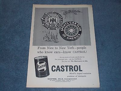 """1958 Castrol Motor Oil Vintage Ad """"From Nice to New York-People Who Know Cars.."""""""