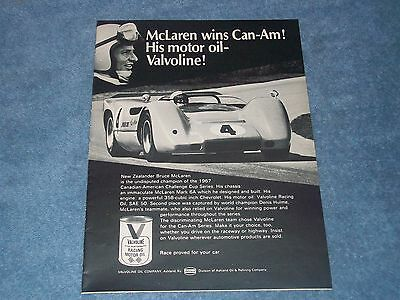 1968 Valvoline Motor Oil Vintage Ad with Bruce McLaren Mark 6A Can-Am
